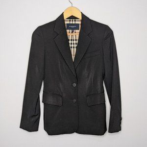 Burberry London Black Button Front Wool Blazer 2